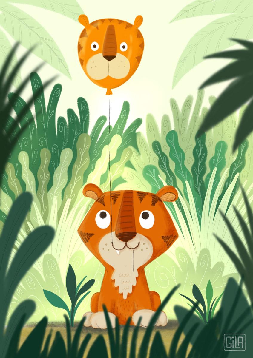 Tiger holding a tiger balloon