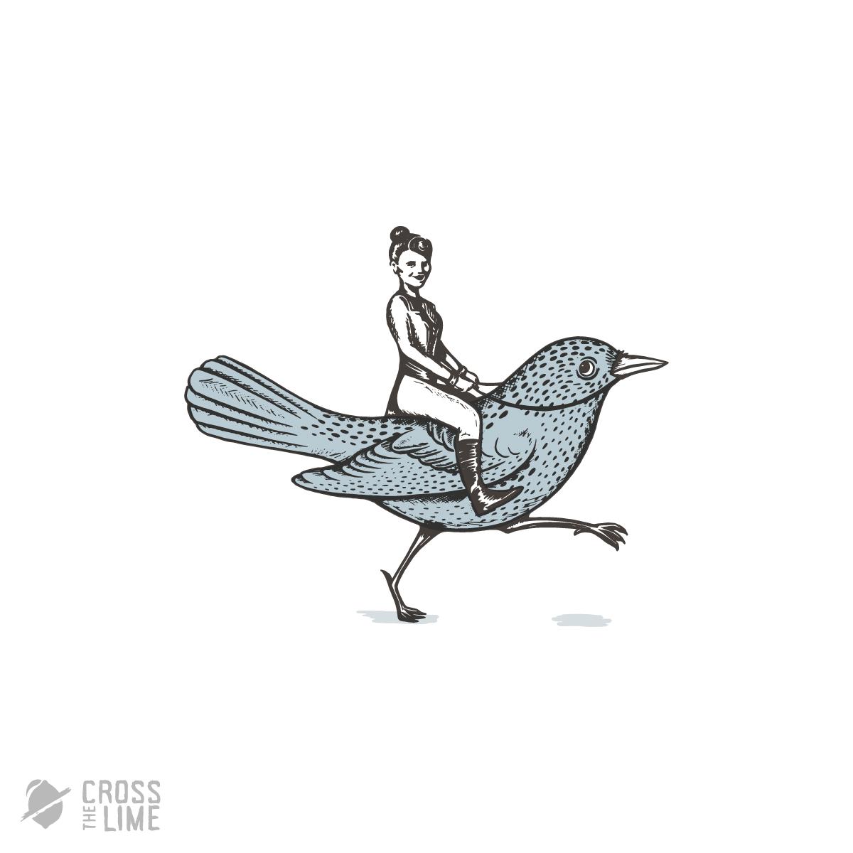 Vintage quirky bird rider logo