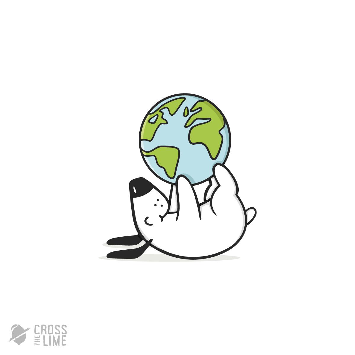 Dog with globe logo