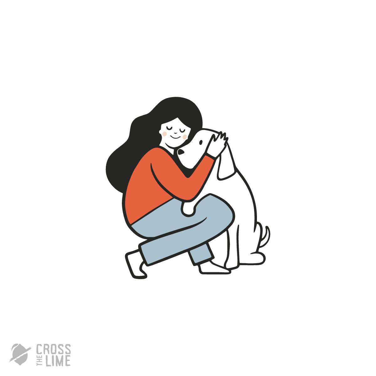 Girl with dog logo