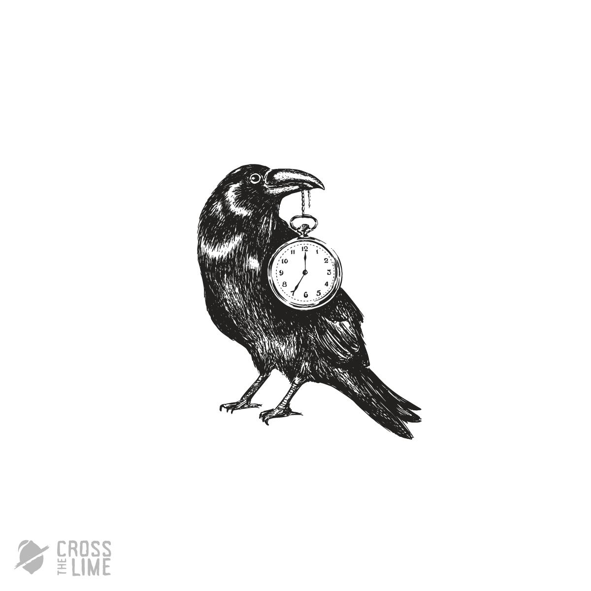 Vintage raven time logo