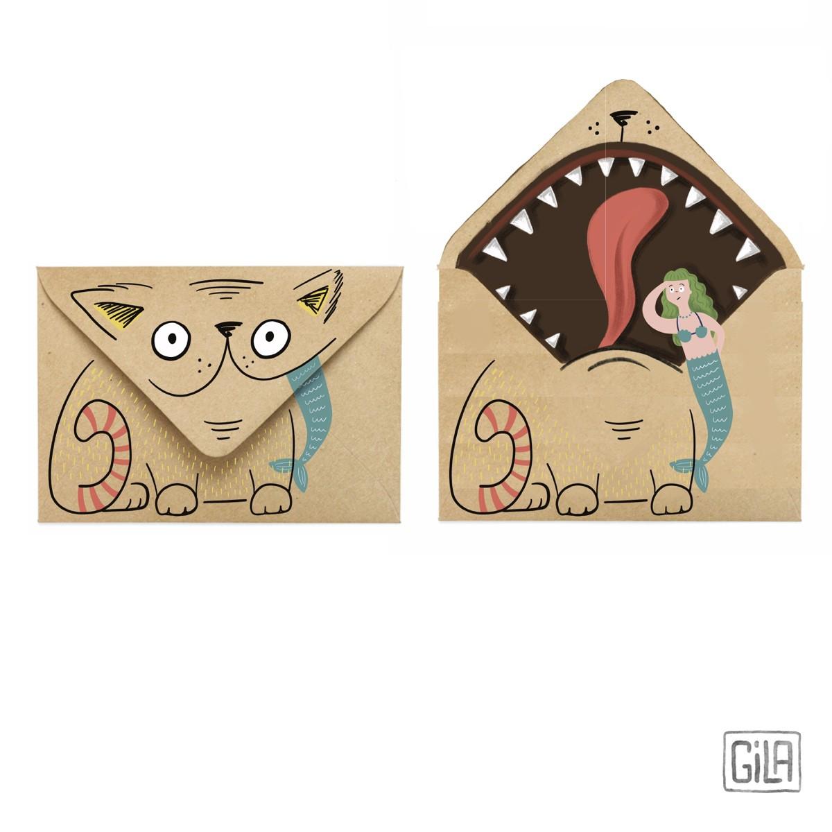Funky envelopes - cat